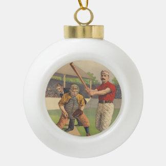 TOP America's Pastime Ceramic Ball Christmas Ornament