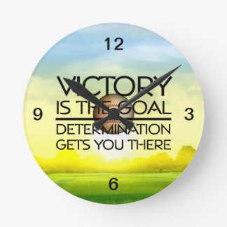 TOP Baseball Victory Slogan Round Clock