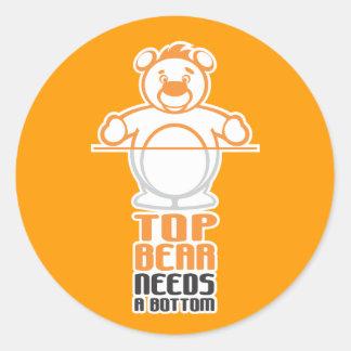 Top Bear Needs a Bottom Classic Round Sticker