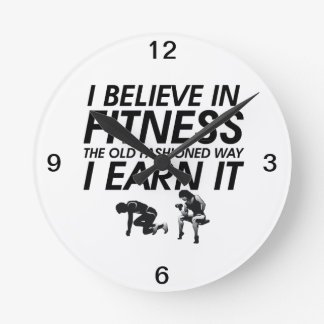 TOP Believe in Fitness Round Wall Clocks