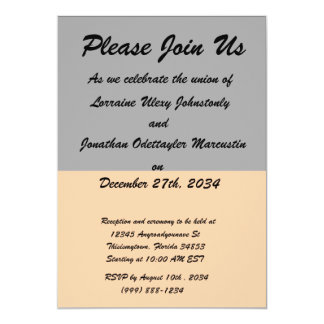 top black bottom orange DIY custom background 5x7 Paper Invitation Card