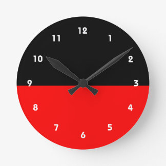 top black bottom red DIY custom background templat Round Clock