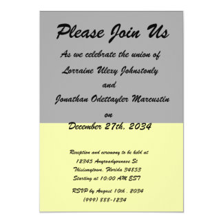 top black bottom yellow DIY custom background 5x7 Paper Invitation Card