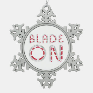 TOP Blade On Snowflake Pewter Christmas Ornament