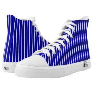 Top blanco azul del alto de la tela a rayas zapatillas