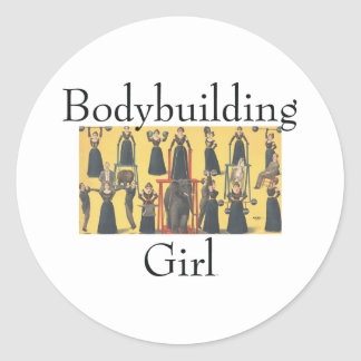 TOP Bodybuilding Girl Classic Round Sticker