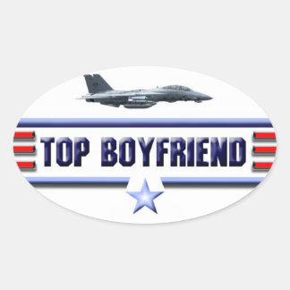 Top Boyfriend Logo Oval Sticker