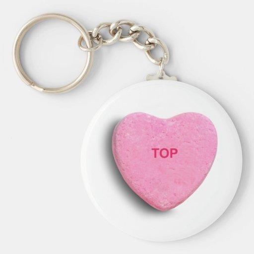 TOP CANDY HEART BASIC ROUND BUTTON KEYCHAIN