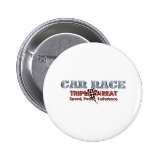TOP Car Race Triple Pinback Button