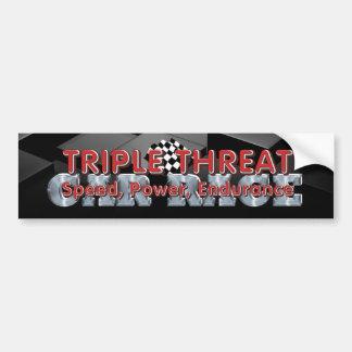 TOP Car Race Triple Threat Bumper Sticker