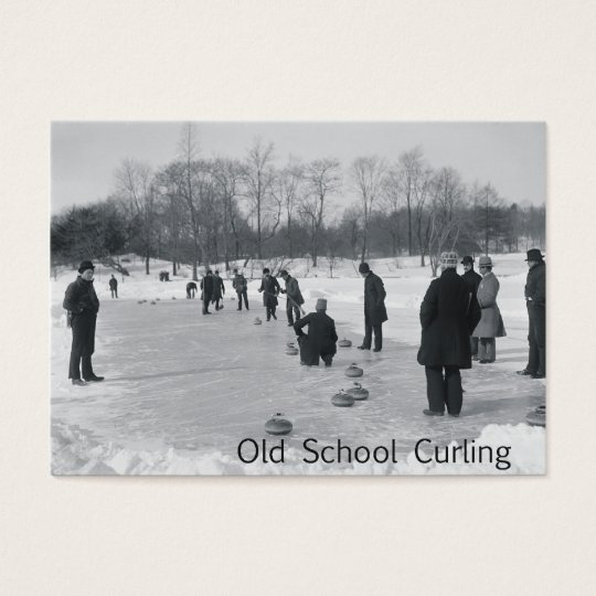 TOP Curling Old School Business Card