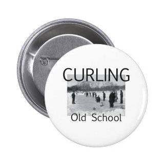 TOP Curling Old School Pinback Button