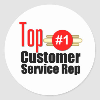 Top Customer Service Rep Round Stickers