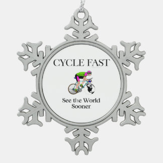 TOP Cycle Fast Snowflake Pewter Christmas Ornament