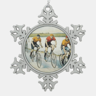 TOP Cycling Old School Snowflake Pewter Christmas Ornament