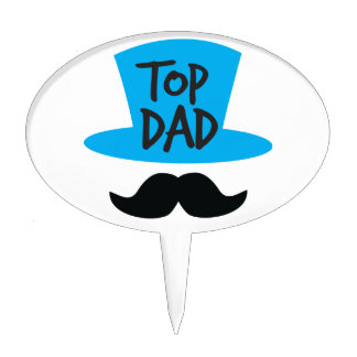 TOP DAD top hat and moustache Cake Topper