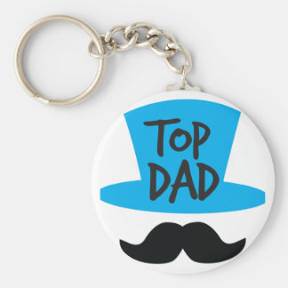 TOP DAD top hat and moustache Keychain