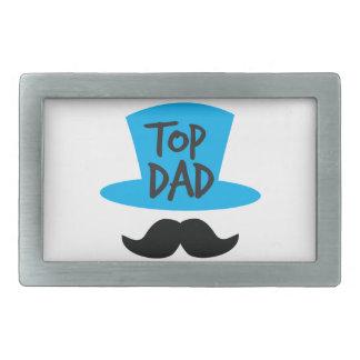 TOP DAD top hat and moustache Rectangular Belt Buckle