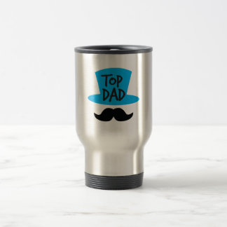 TOP DAD top hat and moustache Travel Mug