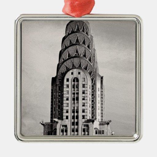 Top de Chrysler que construye NYC - B&W Adorno De Navidad