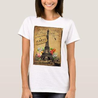 Top de la camiseta de algodón de la torre Eiffel