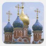 Top de la iglesia ortodoxa rusa en Rusia Calcomanía Cuadradase