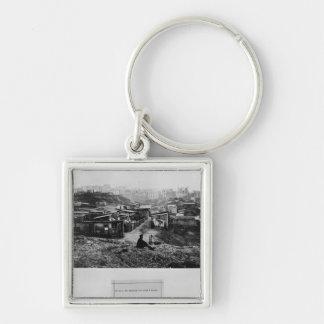 Top de la ruda Champlain París, 1858-78 Llavero Cuadrado Plateado