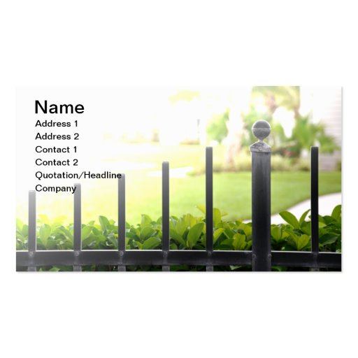 top de una cerca negra al aire libre del hierro tarjetas de visita
