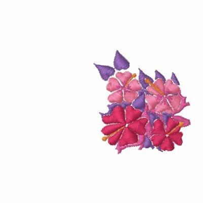Top del arte: Hibisco bordado cortocircuito de Polo T-shirt