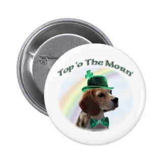 Top del beagle de la mañana pin redondo de 2 pulgadas