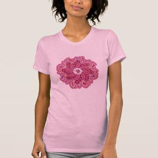 Top del diseñador del rojo cereza de la flor y del camisetas