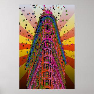 Top del Flatiron que construye rayos rojizos, amar Impresiones
