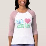 Top del jugo del verde del corazón del amor de la camisetas