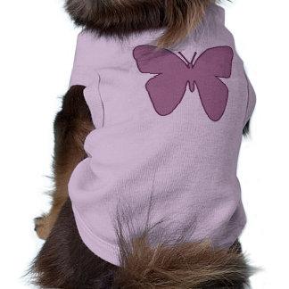 Top del perro con diseño de la mariposa camisas de mascota
