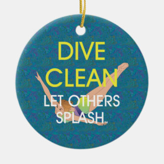 TOP Dive Clean Double-Sided Ceramic Round Christmas Ornament
