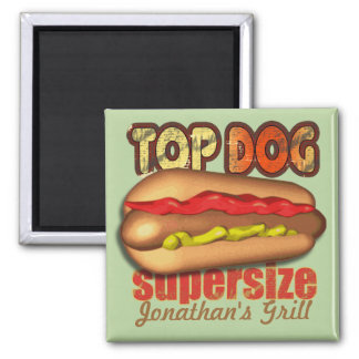 Top Dog Hotdog Personalized 2 Inch Square Magnet