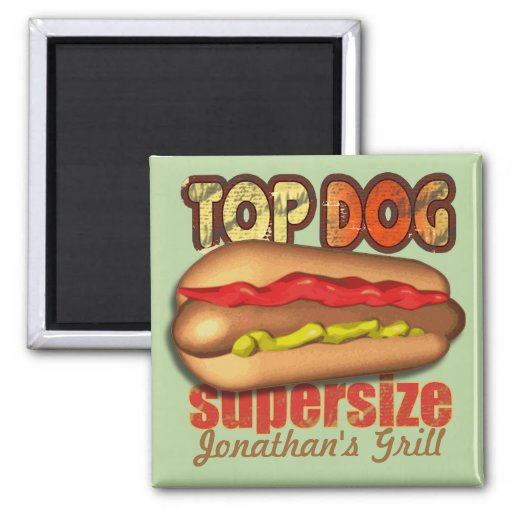 Top Dog Hotdog Personalized Magnets