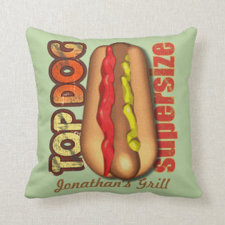 Top Dog Hotdog Personalized Pillow