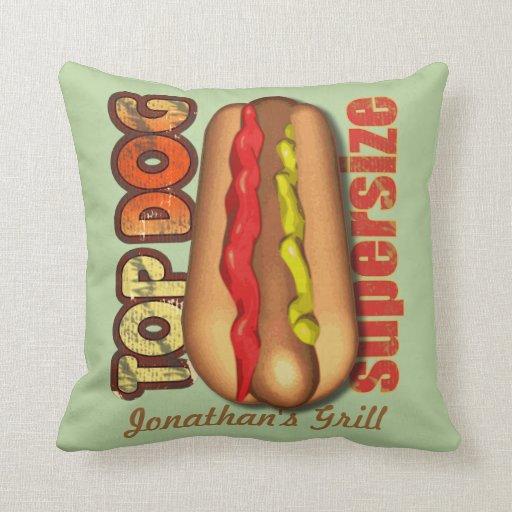 Top Dog Hotdog Personalized Pillow