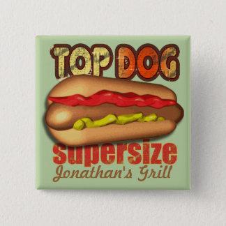 Top Dog Hotdog Personalized Pinback Button