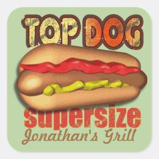 Top Dog Hotdog Personalized Square Stickers