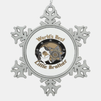 Top Dog Little Brother Snowflake Pewter Christmas Ornament