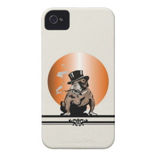 Top Dog Vintage Art Deco Bulldog and Cigar Top Hat Case-Mate iPhone 4 Case