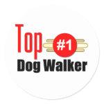 Top Dog Walker Round Sticker