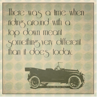 Top down vintage car humorous cutout