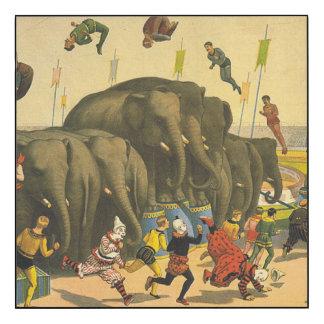 TOP Elephant Acrobats Wood Wall Art