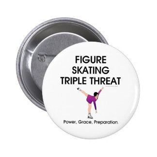 TOP Figure Skating Triple Threat Pinback Button