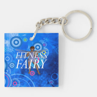 TOP Fitness Fairy Double-Sided Square Acrylic Keychain