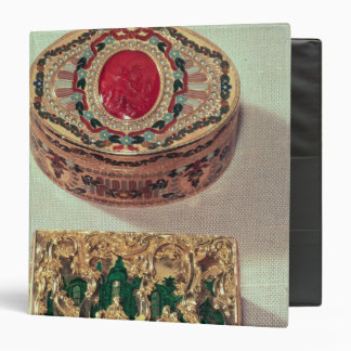 Top: Gold snuffbox inlaid with various stones Binder