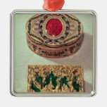 Top: Gold snuffbox inlaid with various stones Ornaments